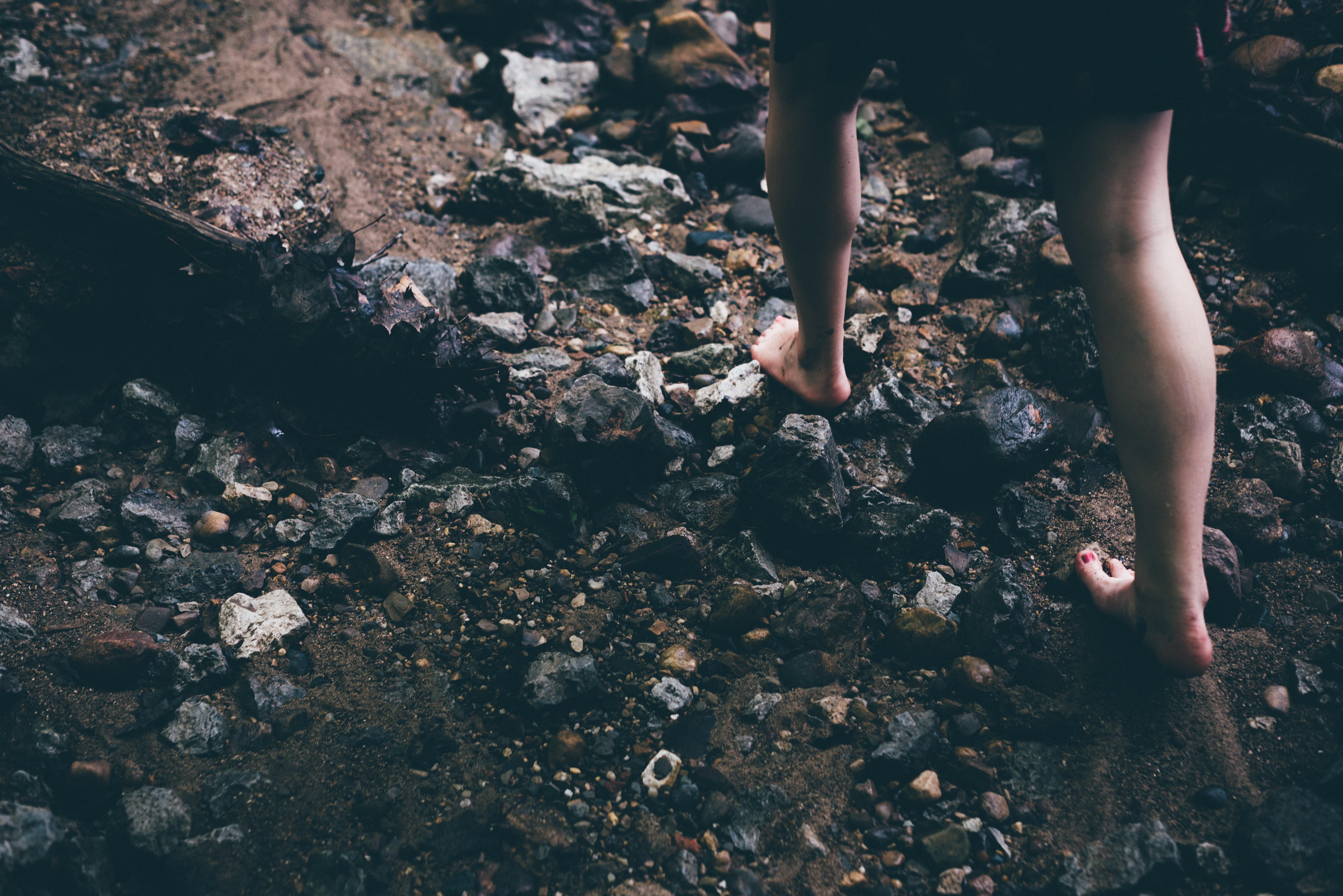 Barfuß, Steine, Natur, laufen, Sommer